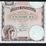 Franta Bilet Loterie pt colectionari 100 Francs s 81865 1934