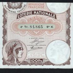 Franta Bilet Loterie pt colectionari 100 Francs s 81865 1934 - Bilet Loterie Numismatica