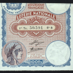 Franta Bilet Loterie pt colectionari 100 Francs s 50591 1933 - Bilet Loterie Numismatica