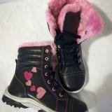 Ghete iarna fete imblanite 27 - 32 negru cu roz si inimi, 25