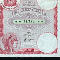 Franta Bilet Loterie pt colectionari 100 Francs s 71382 1933 - Bilet Loterie Numismatica