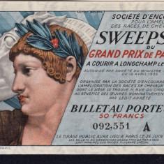 Franta Bilet Loterie pt. colectionari 50 Francs s 092551 1935