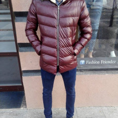 Geaca de piele barbati eco groasa de iarna bordo visinie cu blana slimfit casual