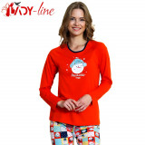 Pijama Dama Cu Maneca/Pantalon Lung, 'Awesome Today' Red,  Vienetta, Cod 1523, L, XL, Rosu