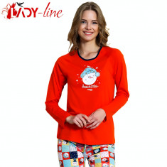Pijama Dama Cu Maneca/Pantalon Lung, 'Awesome Today' Red,  Vienetta, Cod 1523