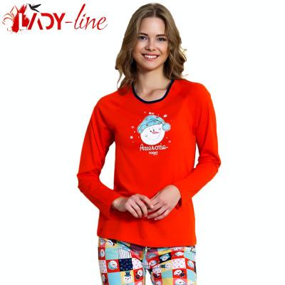 Pijama Dama Cu Maneca/Pantalon Lung, 'Awesome Today' Red,  Vienetta, Cod 1523 foto