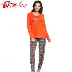 Pijamale Dama 'Prety Girl' Orange, 100% Bumbac, Vienetta, Cod 1527, Marime: S, M, L, XL, Culoare: Din imagine