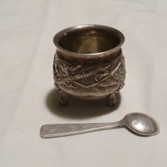 ZAHARNITA sau SOSIERA argint + LINGURITA argint VECHI set SUPERB rar de COLECTIE, Vas