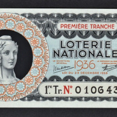 Franta Bilet Loterie pt colectionari 100 Francs s 0106433 1936 - Bilet Loterie Numismatica