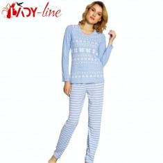Pijama De Dama, 'Winter Tradition', Vienetta, Cod 1520 - Pijamale dama, Marime: S, M, Culoare: Albastru