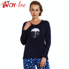Pijama De Dama, 'Rain Stars', Vienetta, 100% bumbac, Cod 1524, L, S, Albastru