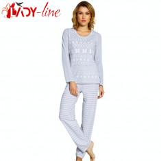 Pijama De Dama Cu Maneca/Pantalon Lung, 'Winter Tradition' Gray, Vienetta, S, Gri