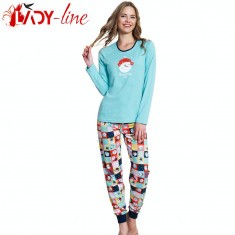 Pijama Dama Maneca/Pantalon Lung, 'Awesome Today' Blue, Vienetta, Cod 1522