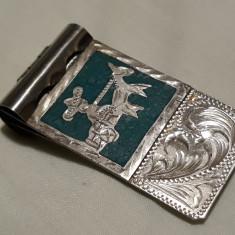Clema argint Bancnote MASIVA cu email gravata manual MEXIC splendida de COLECTIE, America de Nord