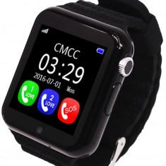 Ceas GPS Copii si Seniori iUni V8K, Pedometru, Touchscreen 1.54 inch, Bluetooth, Notificari, Camera, Black + Spinner Cadou - Smartwatch
