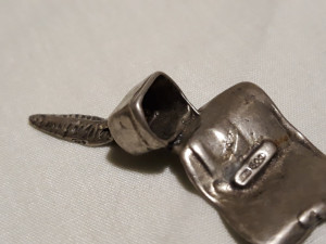 Argint Toc de Scris Calimara si Manuscris in miniatura Patina Minunata