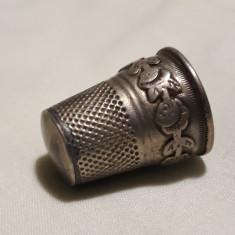 DEGETAR argint ornat cu TRANDAFIRI Franta 1900 art nouveau Piesa de Colectie