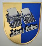 Reclama veche carton embosat pentru mașină de scris Ideal Erika Germania 30s