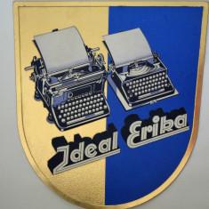 Reclama veche carton embosat pentru mașină de scris Ideal Erika Germania 30s - Cutie Reclama