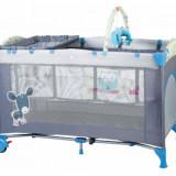 Patut pliant cu 2 nivele SleepWell 120 x 60 cm Blue BabyGo - Patut pliant bebelusi