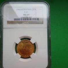 20 LEI 1944 AUR NGC MS64 - Moneda Romania