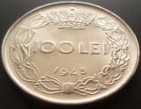Moneda 100 Lei - ROMANIA, anul 1943  *cod 4514  XF