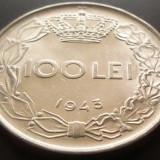 Moneda 100 Lei - ROMANIA, anul 1943 *cod 4514 XF - Moneda Romania
