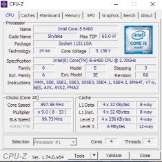 Procesor Gaming Intel Skylake, Core i5 6400 2.70GHz Up to 3.30GHz Socket 1151 4K - Procesor PC Intel, Intel Core i5, Numar nuclee: 4, Peste 3.0 GHz