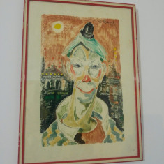 Clovn/ gravura color, Cesare Riesch (pictor italian), 1959 - Pictor strain, Portrete, Guasa, Altul