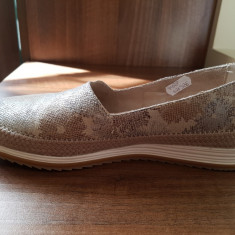Pantofi Benvenuti noi, de dama, din piele naturala - Pantof dama Benvenuti, Culoare: Argintiu, Marime: 37, Cu talpa joasa