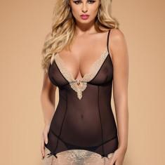 Neglijeu Sexy din Plasă și Dantelă Bisquella, Marime: L/XL, S/M, Culoare: Alb, Negru