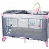 Patut pliant cu 2 nivele SleepWell 120 x 60 cm Pink BabyGo - Patut pliant bebelusi
