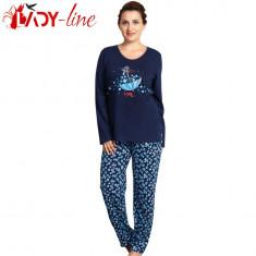 Pijama Dama 'Love You More' Blue, Vienetta, Marimi Mari, 100% Bumbac, Cod 1528 - Pijamale dama, Marime: XL, XXXXL, Culoare: Albastru