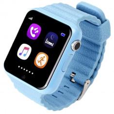 Ceas GPS Copii si Seniori iUni V8K, Pedometru, Touchscreen 1.54 inch, Bluetooth, Notificari, Camera, Blue + Spinner Cadou - Smartwatch