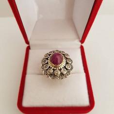 Inel din aur si argint cu rubin si diamante - Inel diamant, Carataj aur: 14k, Culoare: Galben
