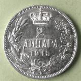 SERBIA YUGOSLAVIA  2 DINARI 1915 ARGINT  STARE AUNC UNC, Europa