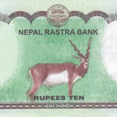 Bancnota Nepal 10 Rupii 2017 - PNew UNC ( desen nou pe spate ) - bancnota asia