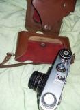 Aparat de fotografiat vechi,cu etui piele,marca FED 5B,de colectie,T GRATUIT