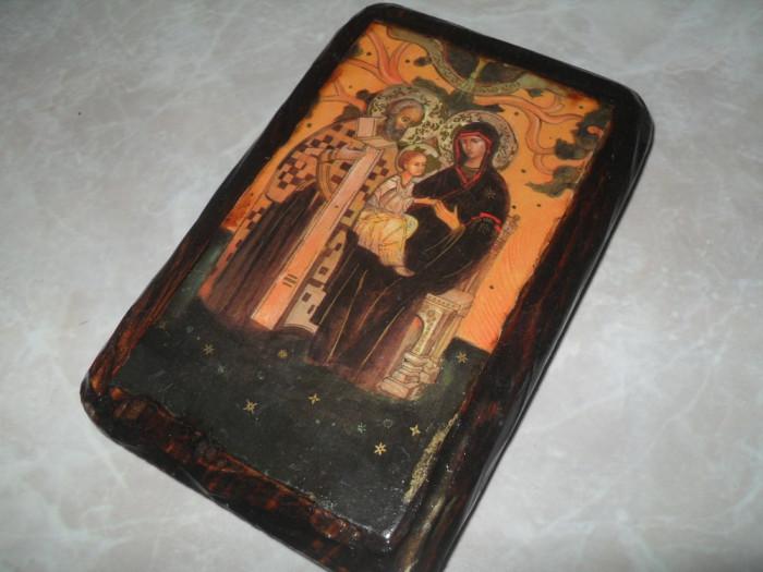 Iconita veche pe lemn litografie