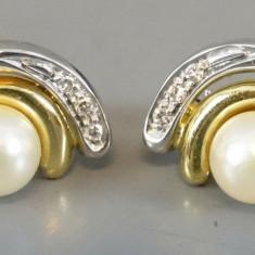 Cercei din aur cu perle si diamante - Cercei cu diamante
