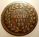 J.303 FRANTA STRASBOURG PROVISIONAL 1 UN DECIME 10 CENTIMES 1815 BB, Europa, Bronz