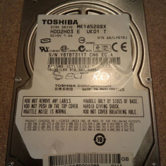 Hard-disk / HDD SATA TOSHIBA 160GB MK1652GSX Defect -Sectoare realocate - HDD laptop Toshiba, 100-199 GB