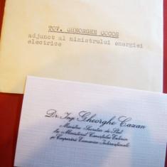 Plic cu Carte de Vizita a Tov. Ghe.Cazan- Ministrul Comertului Exterior ,semnat