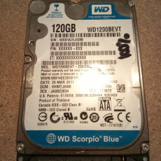 Hard Disk / HDD SATA WESTERN DIGITAL SCORPIO BLUE 120GB 100% HEALTH Laptop - HDD laptop Western Digital, 100-199 GB, Rotatii: 5400