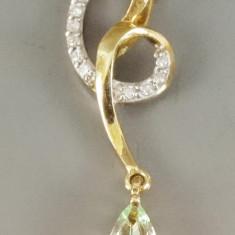 Pandantiv din aur cu turmalina si diamante - Pandantiv aur
