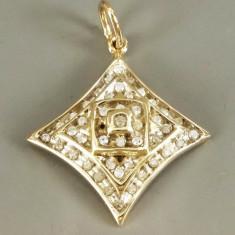 Pandantiv geometric din aur - cu diamante - Pandantiv aur, 14k