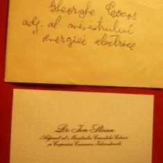 Carte de vizita- Ion Stoian -Adjunct al Ministrului Comertului anii '60 - Autograf