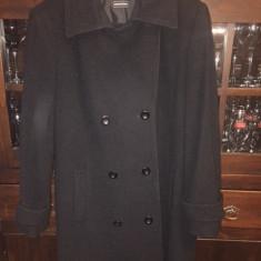 Palton negru din stofa - Palton dama, Marime: 48