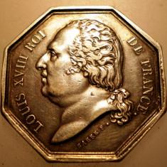 J.306 FRANTA LUDOVIC LOUIS XVIII MEDALIE 1818 ARGINT 12, 7g, Europa
