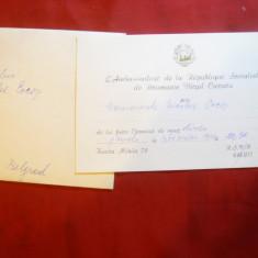 Plic - Invitatie Dineu din partea Ambasadorului Romaniei- Belgrad Virgil Cazacu - Autograf